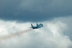 The MiG-29. Gostomel, Ukraine - May 12, 2006. The MiG-29 Ukrainian Air Force takes off in bad weather Stock Photo