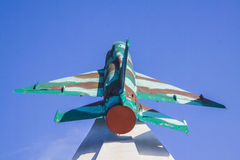 Mig-15 hyvlar krigminnesmärken i Krasnodar Arkivfoton