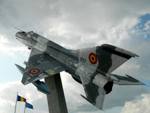 MiG 21 Lancer out of comission, used as a decoration, near Cluj,. The Mikoyan-Gurevich MiG-21  is a supersonic jet fighter aircraft, designed by the Mikoyan Stock Image