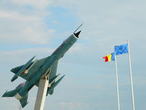 MiG 21 Lancer out of comission, used as a decoration, near Cluj,. The Mikoyan-Gurevich MiG-21  is a supersonic jet fighter aircraft, designed by the Mikoyan Stock Images