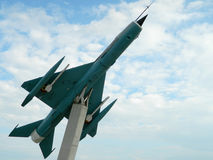 MiG 21 lansjer z prowizi, używać jako dekoracja, blisko Cluj, Zdjęcia Stock
