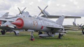 MiG-21 linii myśliwiec odrzutowy (1957) Fotografia Stock