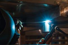 MIG-MAG welder overhead welding Royalty Free Stock Photo