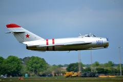 MIG-15. The Mikoyan-Gurevich MiG-15 was a jet fighter aircraft developed by Mikoyan-Gurevich Russian Aircraft Corporation for the Soviet Union Royalty Free Stock Photography