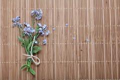 Mig-nots på ett trä mig-nots på en träbakgrund Royaltyfria Bilder