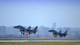 Mig 29 pair take off Stock Photo