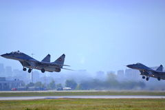 Mig 29 pair take off Royalty Free Stock Photos