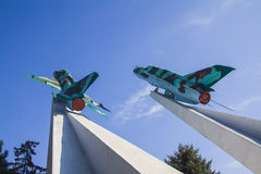 Mig-15 planes War memorial in Krasnodar Royalty Free Stock Image