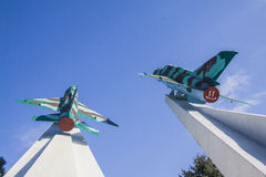Mig-15 planes War memorial in Krasnodar Royalty Free Stock Photos