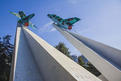 Mig-15 planes War memorial in Krasnodar Stock Photos