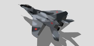 Mig 29, russian military aircraft, fighter jet, sketch Stock Image