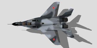 Mig 29, Russische militaire vliegtuigen, vechtersstraal, schets Royalty-vrije Stock Afbeelding