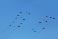 Mig and Su fighter planes on parade Royalty Free Stock Photo