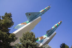 Mig-15 surface le mémorial de guerre dans Krasnodar Image libre de droits