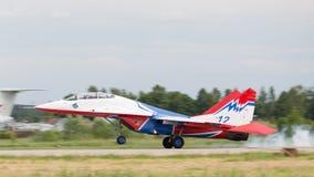 MiG-29 touches the ground Stock Photos