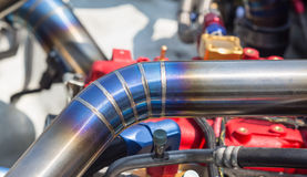 Mig welded seam on stainless steel pipe in racing car Stock Photography