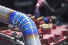 Mig welded stainless steel pipe in racing car Stock Photography