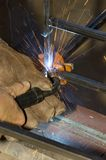 MIG Welding. Steel fabrication with a mig welder Royalty Free Stock Photos