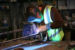 Mig welding angled Royalty Free Stock Photos