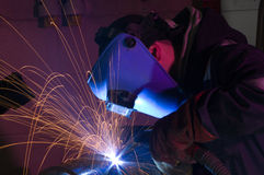 MIG welding close up Stock Photography