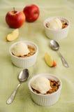 Migaja de Apple y de la grosella negra con helado imagenes de archivo