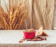 Migaja rústica hecha en casa de la manzana y de la pera en la porción de cerámica rojo imágenes de archivo libres de regalías