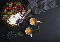 Migaja sana del granola de la avena del desayuno con las bayas, las semillas y el helado frescos en cacerola de la sartén del hie fotos de archivo libres de regalías