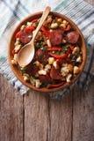 Migas με chorizo, crumbs ψωμιού και τα λαχανικά κάθετη κορυφή VI Στοκ φωτογραφία με δικαίωμα ελεύθερης χρήσης