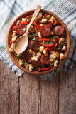 Migas with chorizo, bread crumbs and vegetables. vertical top vi Royalty Free Stock Photo