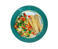 Migas Tex-Mex cuisine. Migas is a traditional breakfast dish consisting of corn tortilla strips fried on a pan or griddle until almost crispy and then eggs Royalty Free Stock Photography