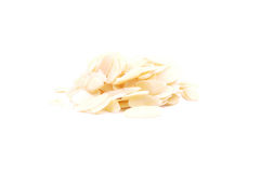 Migdałów plasterki na bielu zdjęcie stock