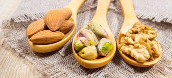 Migdały, orzechy włoscy i pistacja na drewnianej łyżce, Zdjęcia Stock