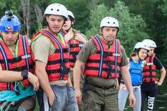 Migea Ukraina - Juni 17, 2017 Grupp av lycksökaren som tycker om vatten som rafting aktivitet på floden Migea Ukraina på Juni 17 Royaltyfria Foton