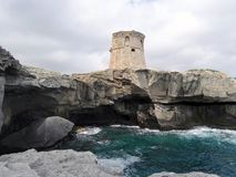 The Miggian Tower, Salento. Italy. The Miggian Tower was built when the sighting towers were already in existence to protect the coast of the city and Castro royalty free stock images