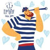 The mighty cartoon sailor with spyglass. royalty free illustration