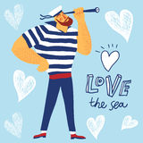 The mighty cartoon sailor with spyglass. Royalty Free Stock Photo