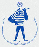 The mighty cartoon sailor with spyglass. Vector illustration Stock Image