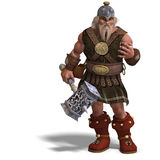 Mighty fantasy dwarf with a hammer. 3D rendering of a mighty fantasy dwarf with a hammer with clipping path and shadow over white Stock Photography