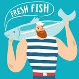 Mighty fisherman sailor holding big fish Royalty Free Stock Photos