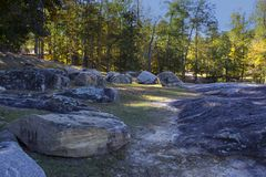 The Mighty Flat Rocks in the Park. `The Mighty Flat Rocks in the Park` is photo taken in Flat Rock Park, located in Columbus, Georgia stock photos