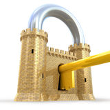 Mighty fortress as a padlock. Isolated on white Royalty Free Stock Image