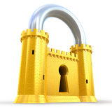 Mighty fortress as a padlock. Isolated on white Stock Photos
