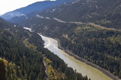 Mighty Fraser River. The mighty Fraser River flows along the valley near Lytton, BC, Canada Stock Photo