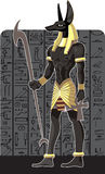 Mighty Great dark Anubis on dark Egypt background Royalty Free Stock Image
