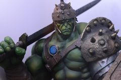 Gladiator Hulk, Bruce Banner, strongest of the Avengers, Marvel comics heroe. The mighty Hulk in his gladiator uniform with sword and shield ready to dominate stock photos