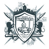 Mighty Knights Print. With warrior at shield castle crossed weapon  heraldic symbols on grunge background vector illustration Royalty Free Stock Photography