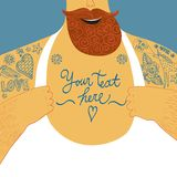 Mighty male chest  with tattoos. Funny cartoon illustration of big male chest with tattoos. Perfect to place your text Stock Images