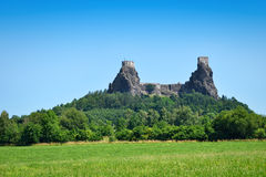 Mighty medieval castle remains on the hill Royalty Free Stock Images