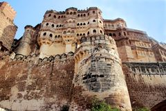 Mighty Meharongarh Fort Stock Images