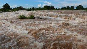 Mighty Mekong and its most spectacular Waterfall. stock video